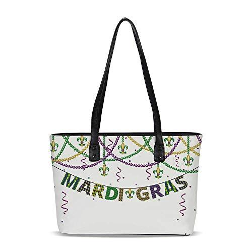 Mardi Gras PU Shoulder Tote Bag,Festive Decorations with Fleur De Lis Icons Han