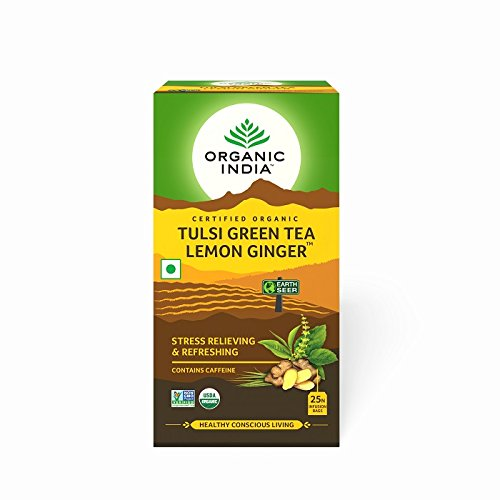Organic India Tulsi Tea,Lemon Ginger, 25 Count (Pack of 2)