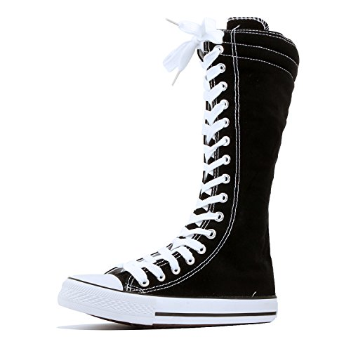 Women's Tall Canvas Lace Up Knee High Casual Sneakers - Various Length (5 M US, BW-Short) (Canvas Shoes High)