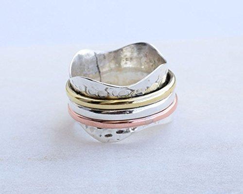 3 Tone Spinner Spin Ring, Yoga maditation ring Two Tone Handmade Ring For Girl Women Size 6 7 8 9 10 11 12