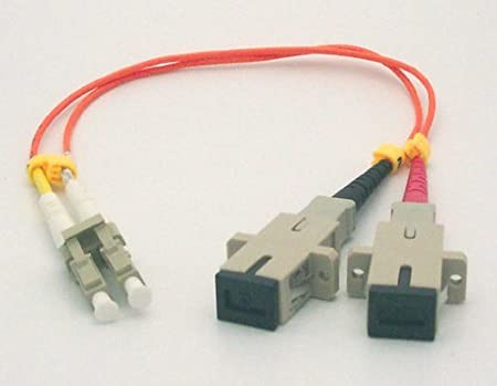 Male 1ft Fiber Optic Adapter Cable LC Female to SC Multimode 62.5//125 Duplex