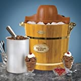 SPN Sun Point Vintage Wood Electric Ice Cream Maker (13.5-inch, Brown)