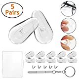 Soft Silicone Eyeglass Nose Pads, PTSLKHN Upgraded Hard Core Air Chamber Eyeglasses Nose Pad, 5 Pairs of 15mm Screw-in Glasses Nose Pad Set(with Micro Screwdriver and Screws)