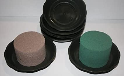 2 items JUNIOR bowl trays GREEN with WET or DRY cylinders foam oasis weddings