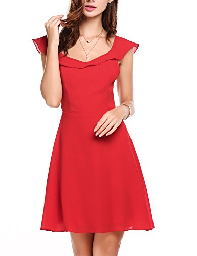 ACEVOG Women's Sleeveless Backless Open Back Chiffon Swing Casual Party Dress (Small, Wine Red) (Back Chiffon)