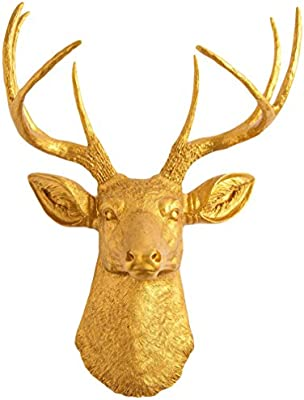 Amazon.com: The Franklin | Gold Deer Head Wall Decor | Stag Head ...