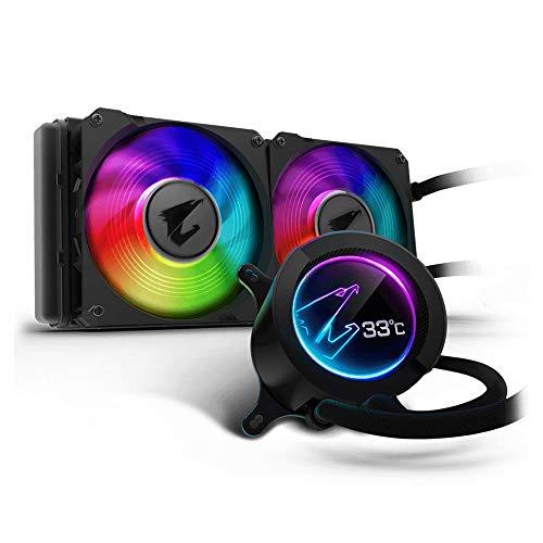 Gigabyte Aorus Liquid Cooler 240, All-in-one Liquid Cooler with Circular LCD Display, RGB Fusion 2.0, Dual 120mm ARGB Fans