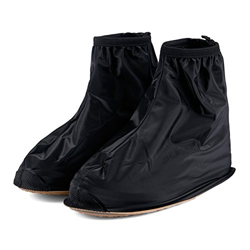 Men Women's Rain Waterproof Flat Ankle Boots Cover Heels Boots Shoes Covers Thicker Non-slip Platform Rain Boots (L, Black) (8x10 Plastic Protective Sleeve compare prices)