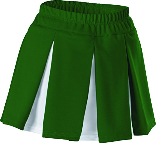 Alleson Women's Cheerleading Multi Pleat Skirt, Dark Green/White, Large