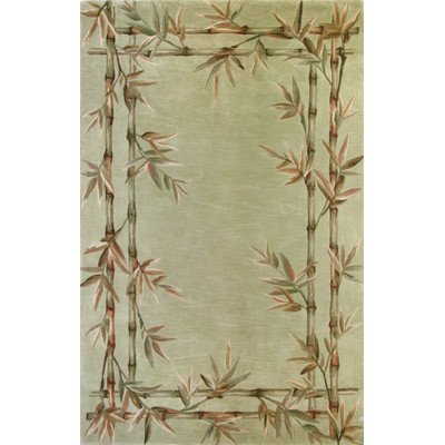 Sparta Bamboo - Kas Rugs 3161 Sparta Bamboo Double Border Round Area Rug, 5-Feet 6-Inch, Sage