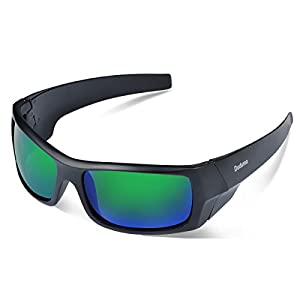 Duduma Tr601 Polarized Sports Sunglasses for Baseball Cycling Fishing Golf Superlight Frame (139 Black matte frame with green lens)