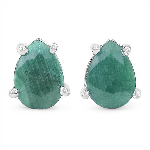 Bijoux Schmidt-Boucles d'oreilles Emeraude Argent 925-Rhodium-1, 50-carats