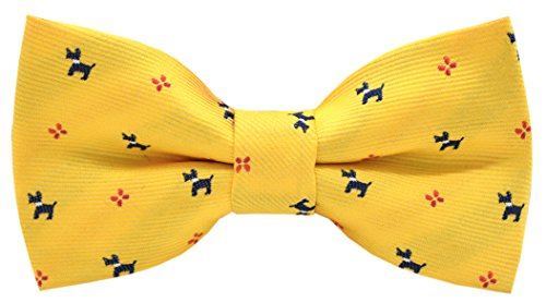 (Carahere Boy's Handmade Personality Puppy Patterned Bow ties M107 Yellow)