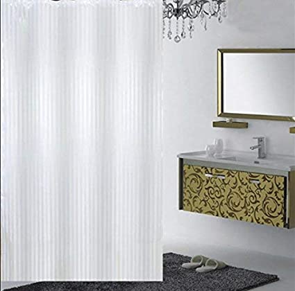 Yellow Weavestm Pvc Self Stripes Plain White Shower Curtain 52 X 82 Inches - 8 Hooks