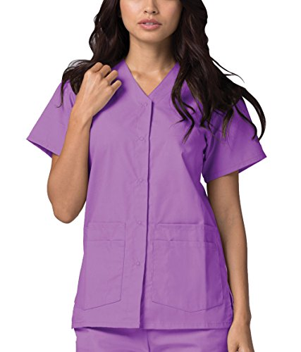 Adar Universal Double Pocket Snap Front Top (Available in 39 colors) - 604 - Lavender - (Lavender Snap)