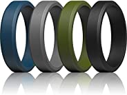 ThunderFit Silicone Rings for Men - Beveled Rubber Wedding Bands 9mm / 7.5mm / 6mm Width