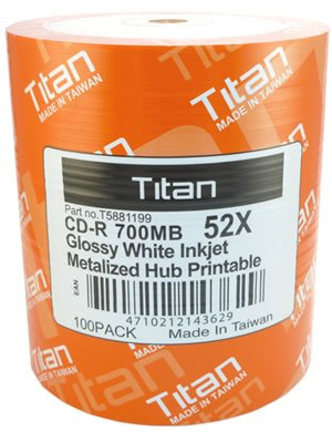 Titan (T5881199) 52X CD-R Glossy White Inkjet Metalized Hub Printable Media - 100 Pack by Titan