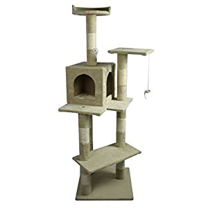"""Beige 60"""" Cat Tree Condo Scratcher House Post Furniture 5666"""