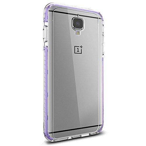 Orzly® FUSION Bumper Case para OnePlus 3 (OnePlus TRES) SmartPhone (2016 Modelo) - Funda Dura Protectora con absorción de impactos NEGRO goma Rim y completo transparente Panel posterior PÚRPURA para OnePlus 3 / 3T