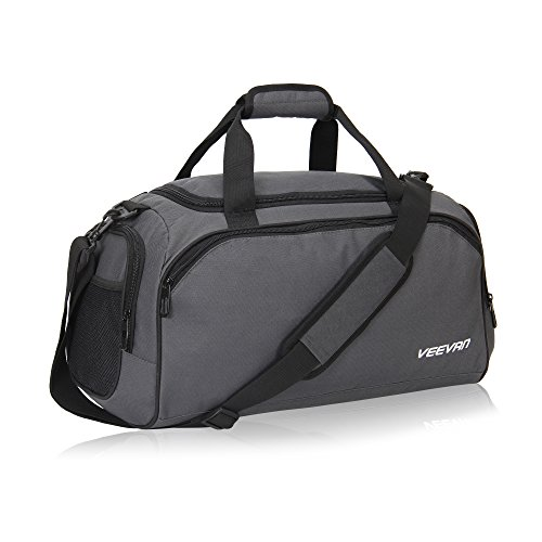 Veevanpro 18 inch Small Gym Bag Travel Sports Duffel Bag Carry on Grey