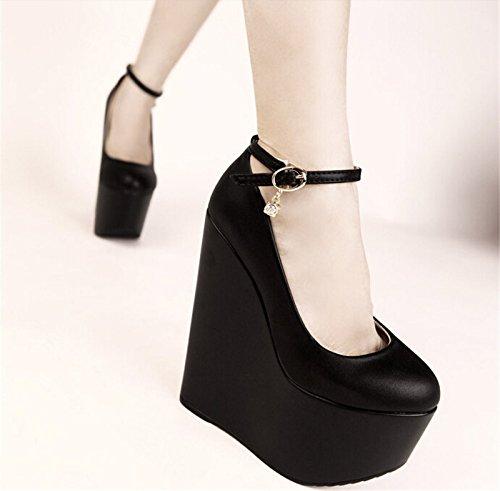 KHSKX-Waterproof Desk Shoes Nightclub Super High 16Cm Women Shoes Waterproof Shoes Thirty-five 5oTmGBsJ