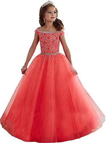 Big Kids Watermelon Apparel - MemoryTU Big Girls Beaded Floor length Party Ball Gown Pageant Dresses 16 US watermelon