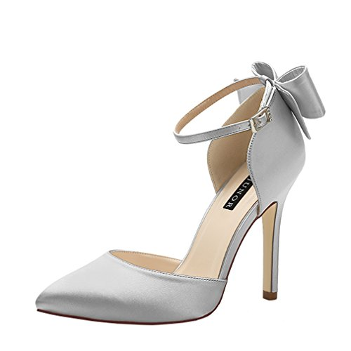ERIJUNOR E1966A Women High Heel Bow Ankle Strap Evening Party Dance Wedding Satin Shoes Silver Size 9