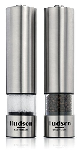 Hudson Gourmet Automatic Salt and Pepper Grinder and Mill Set - Stainless Steel Housing w/ Ceramic Grinder - One Touch Electric