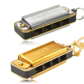 [2 Pcs Swan Necklace Style Mini Harmonica 4 Hole 8 Tone Silver and Golden by Completestore] (Chess Player Costume)