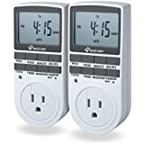Enover 7-day Programmable Plug-in Digital Timer Switch with 3-prong Outlet for Lights and Appliances, 15A/1800W, Set of 2