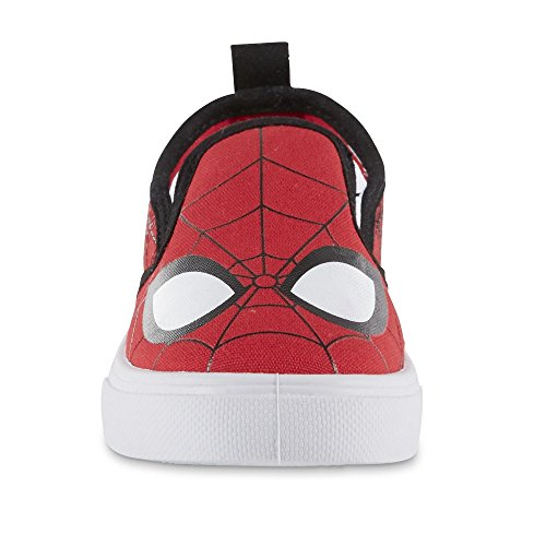 Image of BBC International Marvel Toddler Boys' Spider-Man Red/Black Slip-On Sneaker (11 M US Toddler/Youth)