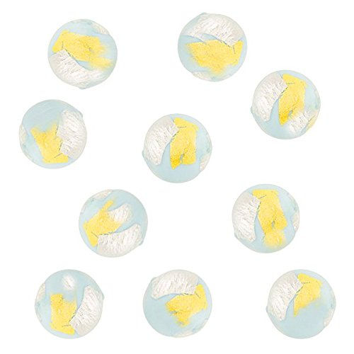 24kt Gold, Sterling Silver Foil w/Pale Aqua Murano Glass Round Bead, 6mm, 10 Pieces