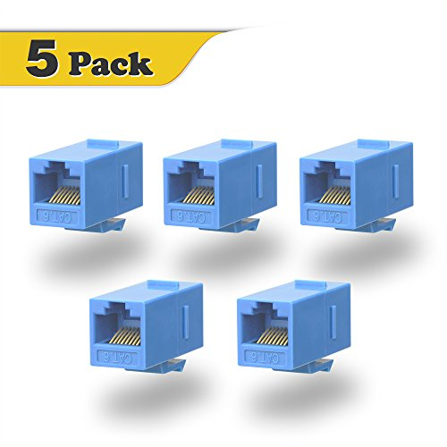 VCE 5-PACK CAT6 Keystone Coupler,RJ45 Female to Female Insert Coupler, UTP Keystone inline Coupler-Blue (Cat5e Keystone Coupler)