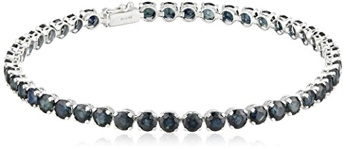 14k White Gold Round Blue Sapphire Tennis Bracelet, (14k Blue Sapphire Bracelet)