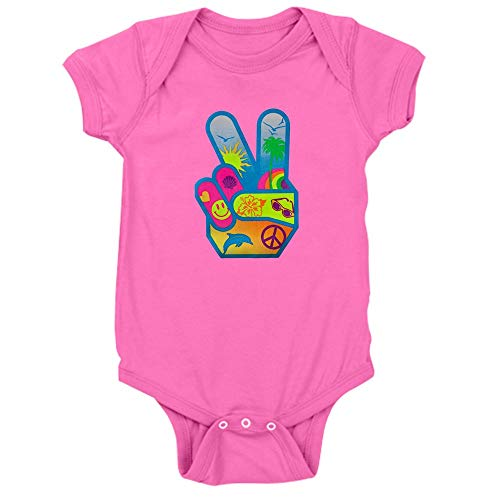 (Royal Lion Infant Bodysuit Dark Peace Sign Symbol Dolphin Smiley Face - Raspberry, 6 to 12 Months)