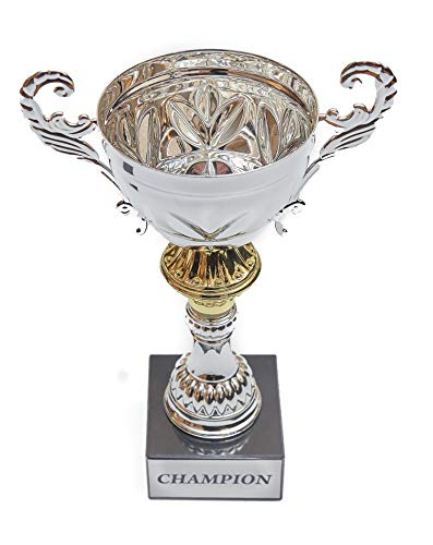 Fantasy Bros Completed Metal Cup Trophy | Best Customizable Champion Trophy Cup with Marble Base for Sports, Awards, Prizes, Souvenirs & Gifts | Various Sizes for First, Second, (Silver, 13 1/2 Inch)