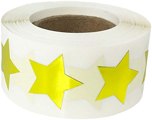 Metallic Gold Star Shape Stickers Shiny Foil Teacher Supplies 3/4 Inch 500 Adhesive Labels]()