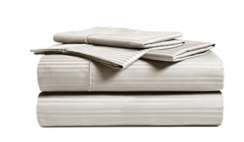 CHATEAU HOME COLLECTION Luxury Combed Cotton 500 Thread Count Executive Stripe 4 Piece Sheet Set, Great Deal - Lowest Prices, (Cal King, Beige)