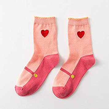 DCPPCPD Otoño Invierno Kawaii Mujer Calcetines Lolita Dulce Corazón de niñas Cute Femenina Coreana 5 Pares de Calcetines Rosa,Rosa,Tamaño Libre: Amazon.es: ...