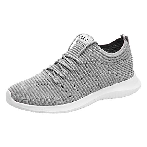 (Mysky Popular Men New Solid Color Comfy Breathable Weave Mesh Sneakers Male Casual Brief Lightweight Sport Shoes Gray)