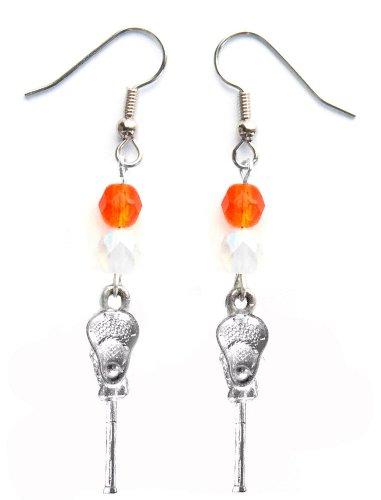 ''Lacrosse Stick & Ball'' Lacrosse Earrings (Team Colors Orange & White) by Edge Sports