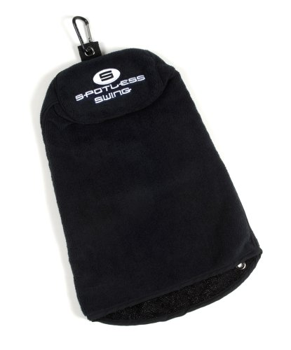 Spotless Swing BrightSpot Solutions Premium Multi-Use Golf Towel, Black with Black Trim
