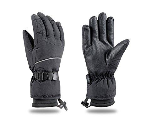 Ski Gloves Snowboard Snowmobile Waterproof Windproof  3M Thinsulate Winter Warm Snow Cold Gloves, Black, Medium