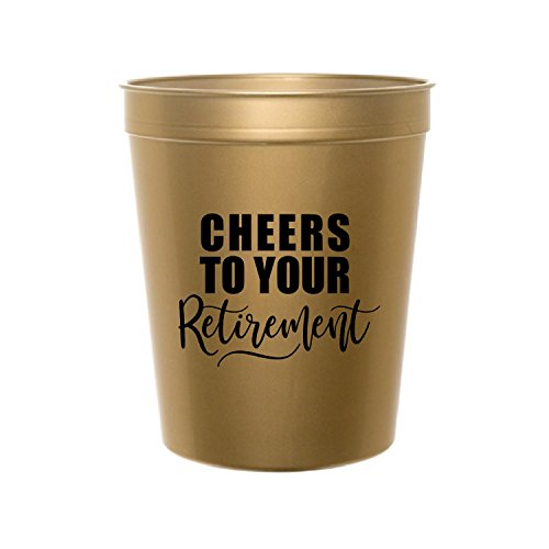 White Rabbits Design Gold Cheers to Your Retirement Cups, Retirement Party, Retirement Party Decor, Stadium Cups, Retirement Party Decor, Retirement Party