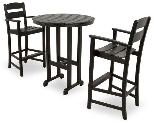 Ivy Terrace IVS111-1-BL Classics 3-Piece Bar Set, Black (Marine Grade Outdoor Furniture)