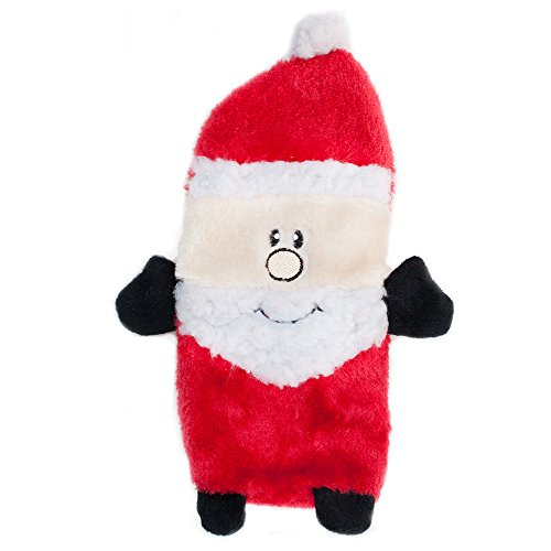 ZippyPaws Holiday Buddie Santa Squeaky Plush No Stuffing Dog Toy, Large (Plush Puppies Santa)