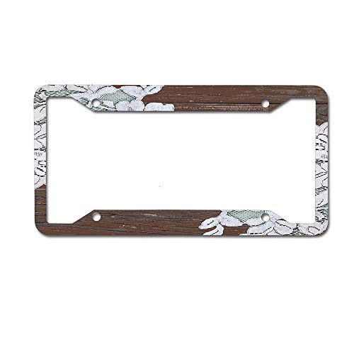 Lace Cottage (Cellcardphone Bohemian Farmhouse Country Cottage Chic Barn Wood Lace Custom Metal License Plate Frame Tag Holder Aluminum Funny Stylish 4 Holes)