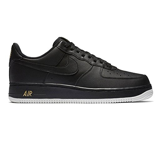 NIKE Mens Air Force 1 Low 07 Crest Basketball Shoes Black/Summit White/Metallic Gold AA4083-014 Size 9.5