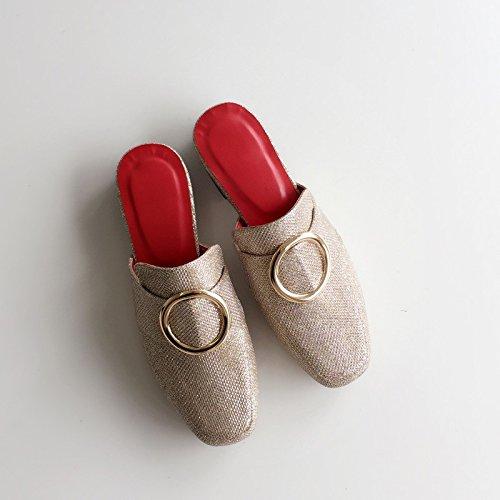 Qingchunhuangtang@ Square Liangtuo Liangtuo Liangtuo Slip-On Baotou sandalo applique,Thirty-Nine,oroen 234f61