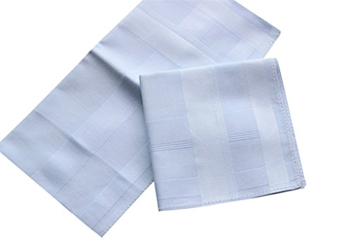 2 Pattern -Men's Cotton Handkerchiefs Solid White Large 17x17'' Hankies by MileyMarla (Image #5)